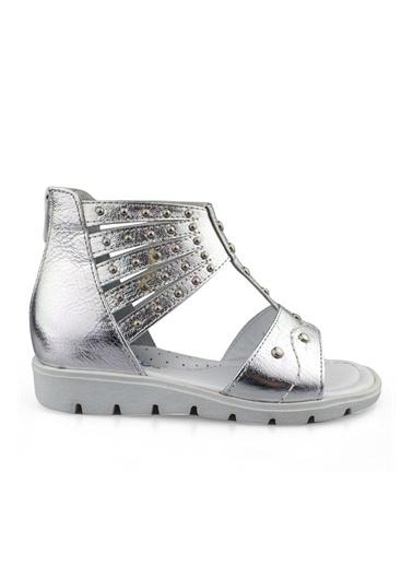 Cicibebe Deri Kız Çocuk Sandalet Gümüş